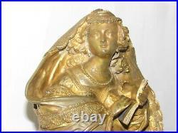05D64 ANCIENNE HORLOGE PENDULE EN BRONZE DORE STATUE FEMME CIRCA 1850 MI- XIXe