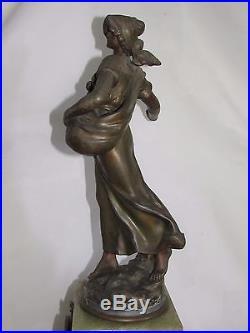 05d24 Ancienne Grande Horloge Onyx Statue Régule La Semeuse Par Auguste Moreau