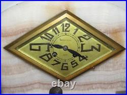 09e15 Ancienne Horloge Marbre Art Déco Moderniste Mouvement F. Marti Médaille Or