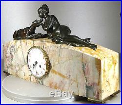 1920/1930 G. Lavroff Pendule Statue Sculpture Art Deco Bronze Femme Nue Levrier