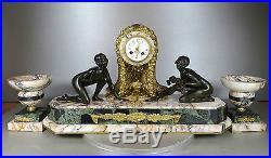 1920/1930 GEO MAXIM RARE ENORME PENDULE PORTIQUE GARNITURE BRONZE DORE ART DECO