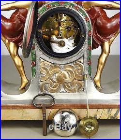 1920/1930 P Sega Rare Pendule Statue Garniture Sculpture Art Deco Danseuse Boule
