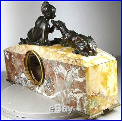 1920/1930 S. BIZARD PENDULE STATUE SCULPTURE ART DECO BRONZE FEMME NUE LEVRIER