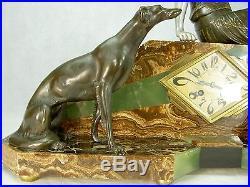 1920/1930 Uriano Spl. Pendule Statue Sculpture Art Deco La Vigie Femme Barzoï