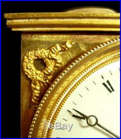 1er Empire Lyre / Protomé Aigle Cariatide Cartel Pendule en bronze Fonctionne