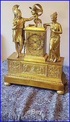 60cm Très Grande Pendule bronze ciselé doré époque EMPIRE mouvement révisé