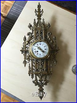 70 Cm Imposant Cartel Mural Horloge Napoléon III En Bronze mvt Japy frères XIXè