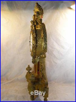 ANCIENNE PENDULE BOIS DORE SCULPTE LOUIS XVI MOUVEMENT FIL HORLOGE PENDULUM 18èm