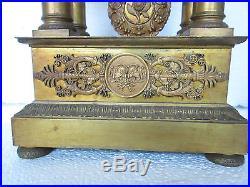 Ancienne Pendule Portique Epoque Empire Restauration Charles X Bronze Doré