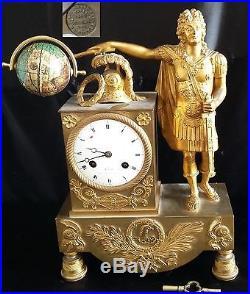 ANCIENNE PENDULE STYLE LOUIS XV statue allégorie roi de France BRONZE XIXe japy