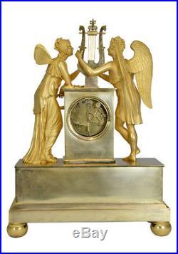 Amour et Psyché. Kaminuhr Empire clock bronze horloge antique cartel pendule
