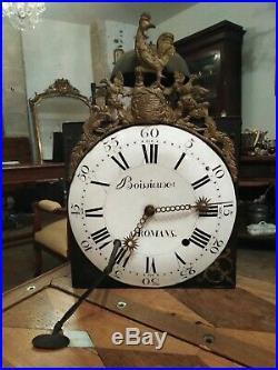 Ancien Mouvement Horloge Au Coq XVIII Assiette Incurvée, 3 Marteaux