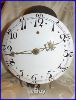 Ancien Mouvement d'Horloge Comtoise Cadran en Faience Porcelaine Pont Farcy