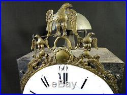 Ancien mécanisme horloge de parquet empire début XIXéme deux marteaux