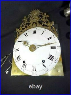 Ancien mécanisme horloge de parquet fin XVIIIé deux marteaux