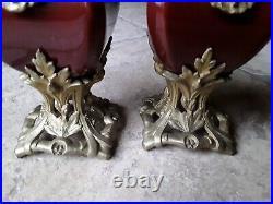Ancienne Garniture De Cheminée Bronze Ceramique Candelabre/pendule/horloge