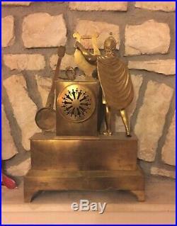 Ancienne Grande Pendule Empire Restauration 54 cm Bronze XIX 19 eme Musique