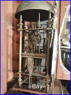 Ancienne Horloge de parquet chêne normande demoiselle XVIIIe mouvement coq