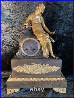 Ancienne Pendule Bronze Dore Tireuse D'epine Epoque Restauration Vers 1830