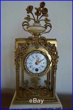 Ancienne Pendule Cage Bronze Marbre Style Louis XVI Epoque XIX