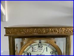 Ancienne Pendule Cage En Bronze Et Glaces