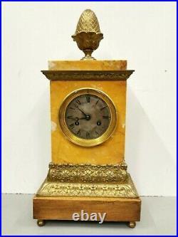 Ancienne Pendule / Horloge Borne en Marbre et Bronze. Mouvement à fil