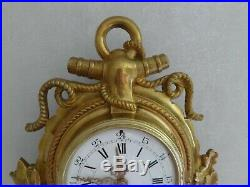 Ancienne Pendule Horloge Cartel Mural En Bronze Massif Dore