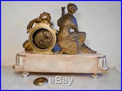 Ancienne Pendule Horloge Romantique Personnage Femme Ange Enfant Bronze Doré