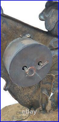 Ancienne Pendule Reveil En Bronze Au Mousquetaire