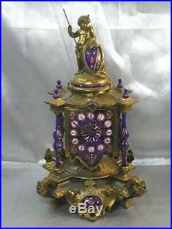 Ancienne Rare Pendule A Colonnes Horloge Angelot Cherubin Emaille Bleu Pendulum