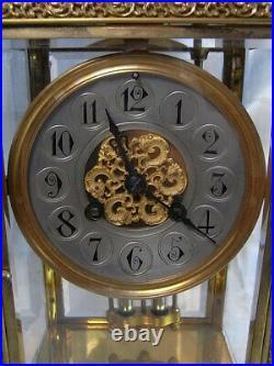Ancienne Rare Pendule Cage Squelette Bronze Dore Mouvement Japy Horloge Pendulum