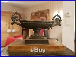 Ancienne horloge pendule Empire en marbre et bronze cadran signé XIX ème s fil