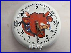 Ancienne horloge pendule émaillée LA VACHE QUI RIT no plaque menier maggi kub