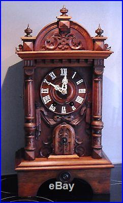 Antique Black Forest Trumpeter Clock Gordian Hettich Sohn PENDULE AUTOMATE RARE