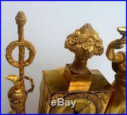Bacchus Grande Pendule Bronze Dore Ep. Empire Clock Vers 1820 H. 46cm. Cherubs