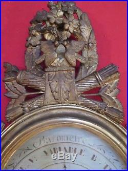 Baromètre en bois doré et sculpté selon Torricelli fin XVIII eme