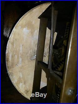 Beau Mouvement D'horloge Fer Debut Xix° 2 Aiguilles A Assiette Faience 1 Cloche