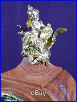 Beau cartel bronze et marbre rose fin XIXéme pendule