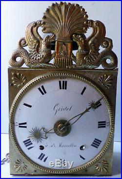 Beau mouvement horloge comtoise à verge 2 marteaux réveil matin