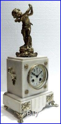 Belle PENDULE Ancienne XIXe en Marbre blanc Bronze et Régule Angelot Putti