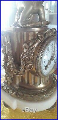 Belle Pendule Marbre Et BRONZE Doré Louis XVI XIXÈME Clock Pendulum Cupidon