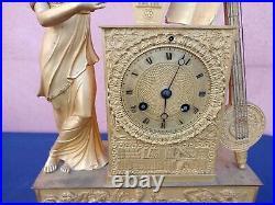 Belle pendule ancienne Empire et bronze doré ALLEGORIE MUSIQUE D'ébut 19éme