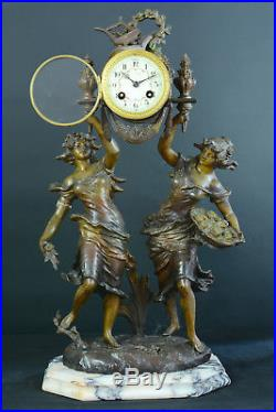 Belle pendule ancienne pat. Bronze style Louis XVI allégorie du printemps clock