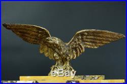 Belle pendule empire Bronze signé marbre colonne Portique antique aigle clock