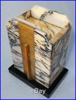 Belle pendule parure de cheminée en marbre art déco aux hirondelles
