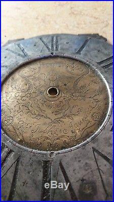 CADRAN D'HORLOGE CILINDRIQUE XVIIe XVIIIe SIGNE