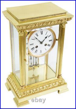 CAGE VITRE. Kaminuhr Empire clock bronze horloge antique pendule uhren