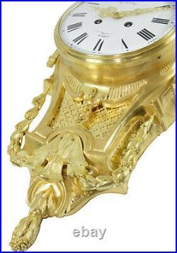 CARTEL APPLIQUE. Kaminuhr Empire clock bronze horloge cartel pendule portique