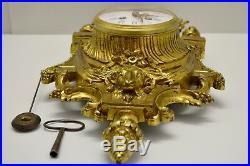 CARTEL BRONZE Doré XIXe style LOUIS XVI cadran émaillé Mouvement JAPY Fonctionne