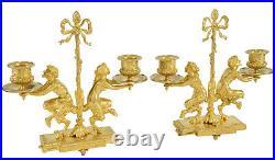 CHANDELIER Kaminuhr Empire clock bronze horloge antique cartel pendule bougeoir